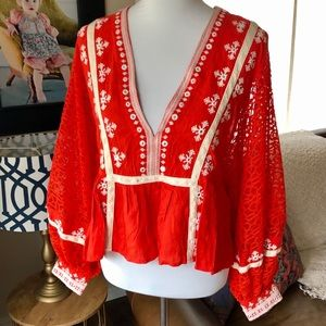Free People Red Balloon Sleeve Lace Sequin Top S